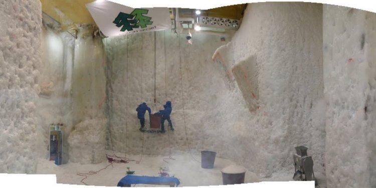 An indoor ice climbing gym