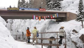 fans watch climbers at Ouray Ice Festival