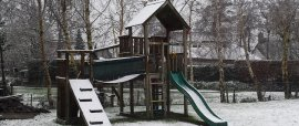 Jungle Gym kids climbing frame in winter