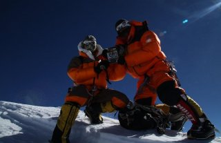 On the summit of Annapurna (8, 091 meters; 26, 545 feet). Photo: Mingma Sherpa.