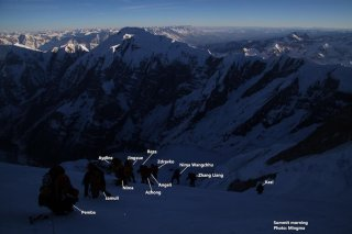 The sun begins to rise on summit day as the team ascends Annapurna. Photo: Mingma Sherpa.
